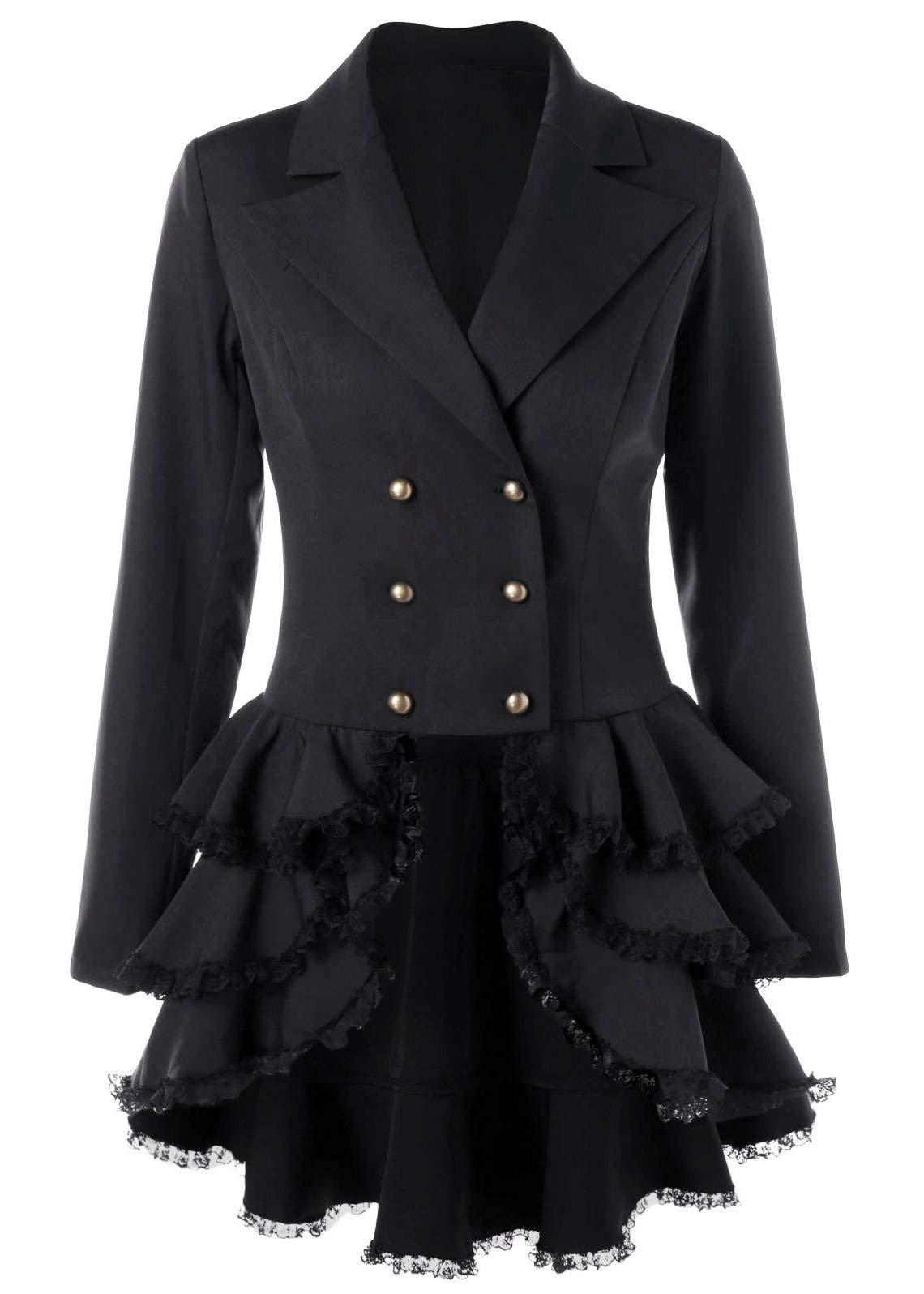 Nihsatin Women's Double Breasted Victorian Steampunk Blazer Coat Jacket with Lace Hem 3