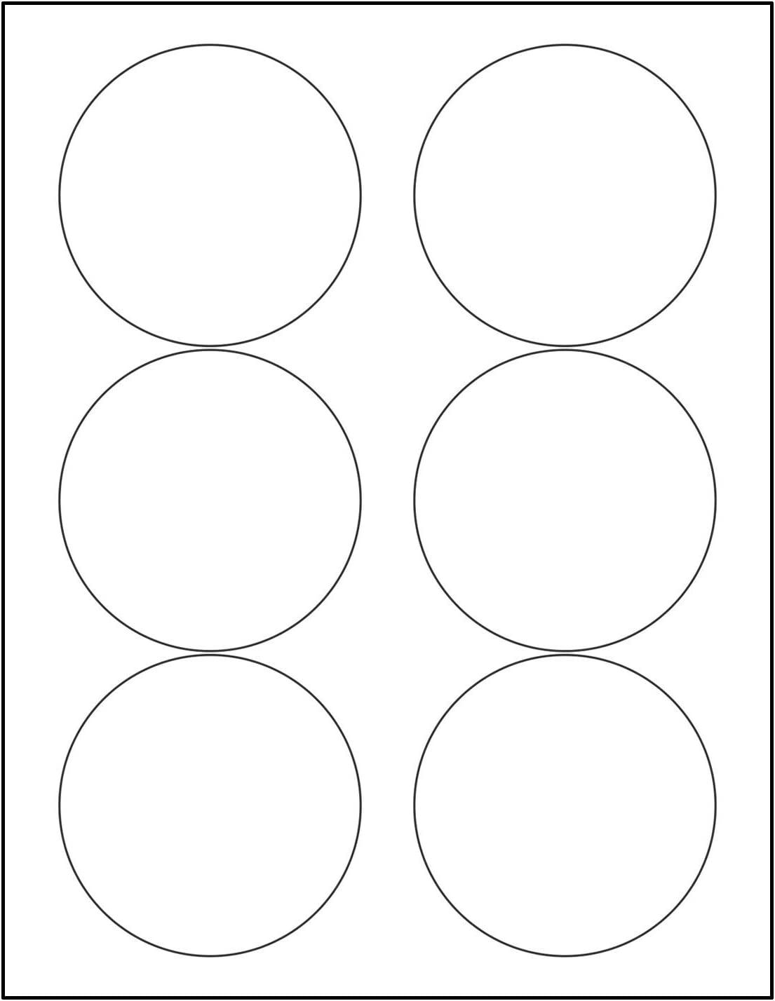 """Laser/Ink Jet White Labels (3.33"""" Round - 6 Per Page 