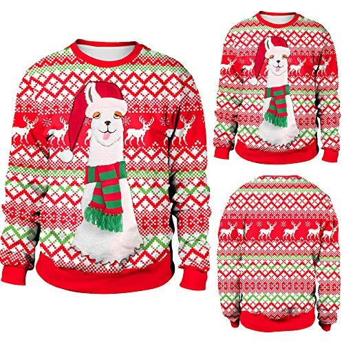 Alpaca V-neck Pullover - Unisex Womens Mens Simulation 3D Alpaca Printed Hoodies Pullovers Sweatshirt