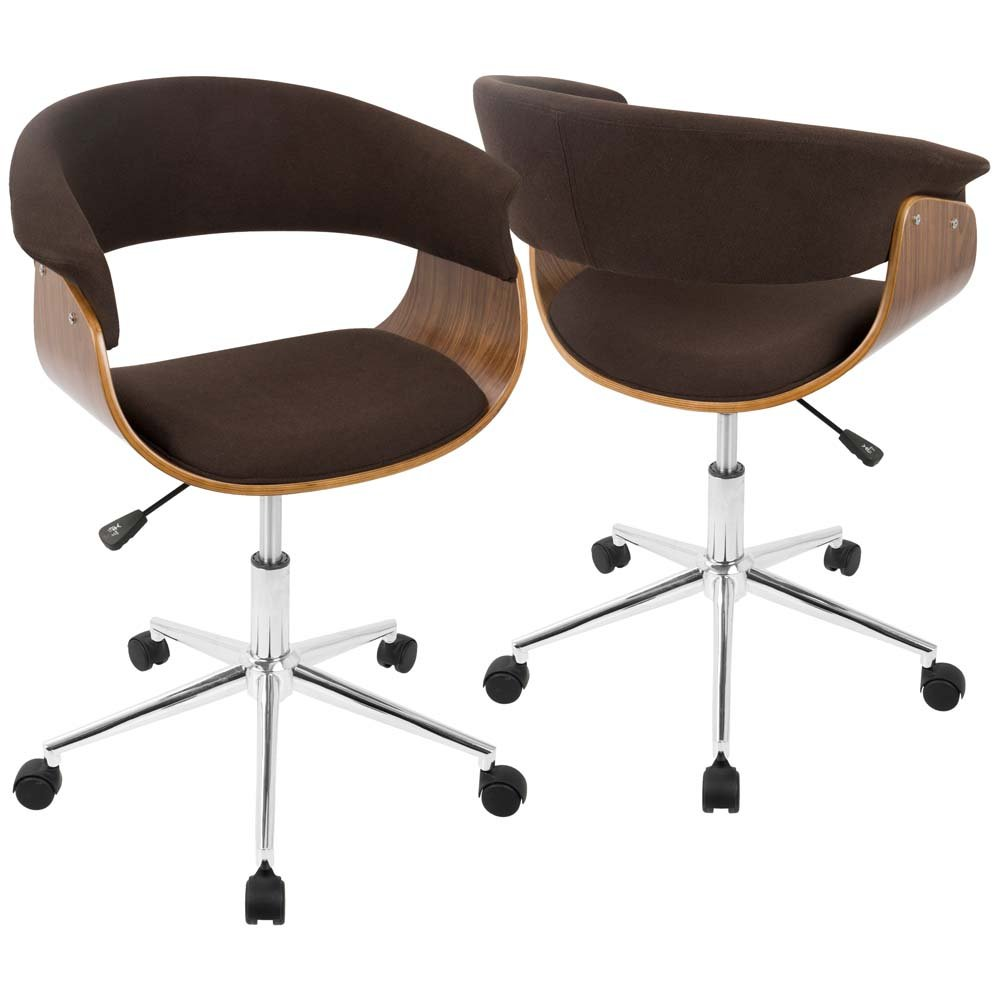 WOYBR OC-VMO WL+E Wood, Fabric, Chrome Vintage Mod Office Chair
