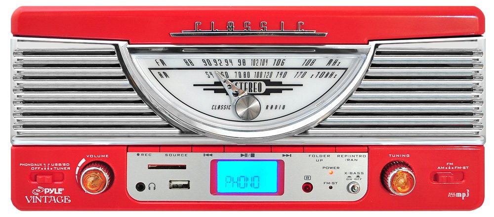 Pyle PTR8UR Retro Turntable with Vinyl-to-MP3 Encoding, USB & SD Memory Card Readers, AM/FM Radio, Aux (3.5mm) Input, MP3 Digital Audio File Playback (Red) by Pyle (Image #1)