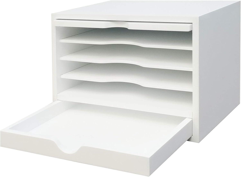 FixtureDisplays Wood Desktop Organizer with Closing Door, White Finish 18819-WHITE