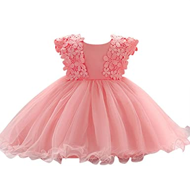 89b0a97bd Minisoya Baby Girls Toddler Infant Flower Princess Pageant Prom Party Ball  Gown Tulle Tutu Dress Bow