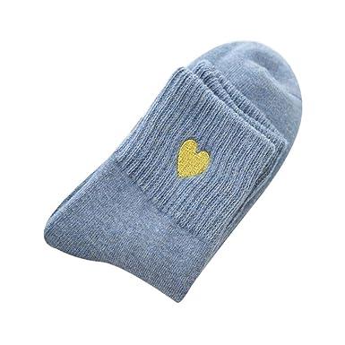 Foruu - Calcetines de algodón para mujer, diseño de corazones