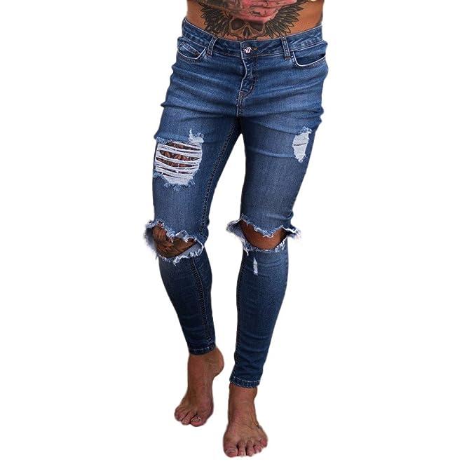 Amazon.com: Alueeu Mens Ripped Holes Jeans Fashion Tapered ...