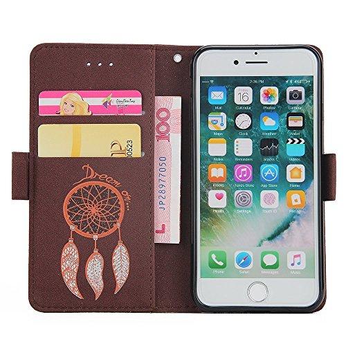 EMAXELERS Leder Hülle für iPhone 6S Plus,iPhone 6S Plus Hülle Glitzer,iPhone 6S Plus Hülle Wallet,Leder Handy Tasche Wallet Case Flip Cover Etui für iPhone 6 6S Plus,iPhone 6S Plus Elegant Sonnenblume Bling Campanula 5