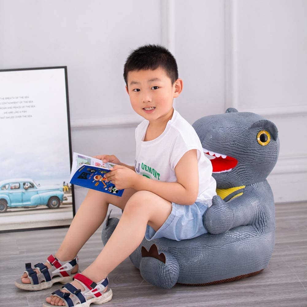 PUDDINGT® Puppy Dinosaur Soft Childrens Arm Chair - Brilliant Kids Textile Armchair for Nurseries And Bedrooms Kids Sofa Seat Children's Chair Grey