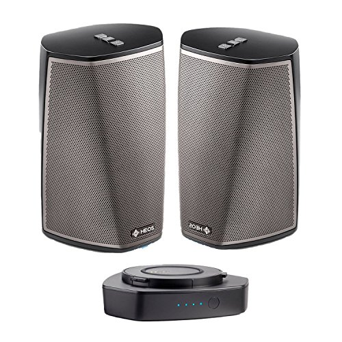 Denon HEOS 1 HS2 Compact Portable Wireless Speaker Pair with WiFi & Bluetooth, Class D Amplifiers & HEOS App with HEOS 1 Go Pack with Lithium-ion rechargeable battery – outdoor heos package in black