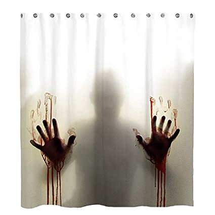 Help Me With Bloody Hands Halloween Horror Scary Spooky Flowing Blood Themed Print Fabric Bathroom Decor with Hooks Pawaca Halloween Bloody Shower Curtain