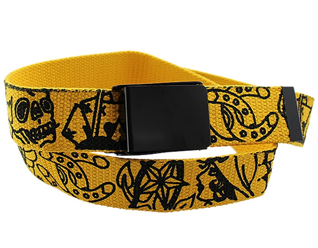 BONAMART Unisex Men Women Fashion Graffiti Knit Canvas Web Belt Waistband 105cm
