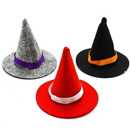 1f85c0ba639 Amazon.com  HUELE 3 Pcs Mini Felt Witch Hats Costume Accessory Party ...