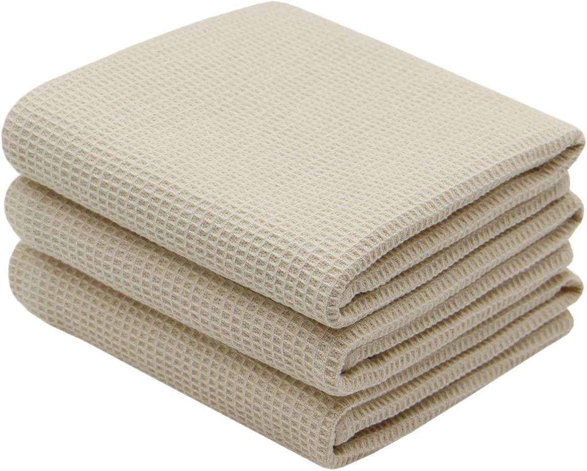 Amazon Com Verasong Cotton Waffle Weave Kitchen Dish Towels Ultra Absorbent Quick Drying Dish Cloths Soft Comfort Tea Towel 17nch X 25inch 3 Pack Beige Home Kitchen