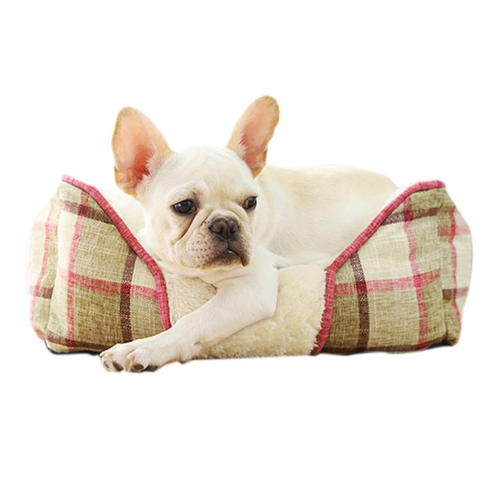 Beige M Beige M Ryan Dog Bed, Soft Warm PV Velvet Pet Bed Puppy Dog Mat Pad Cat Sleeping Cushion Pet Sofa Dog House Pet Nest (color   Beige, Size   M)