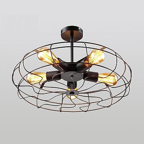 Lámpara colgante Retro Industrial 5 focos redondo lámpara de ...