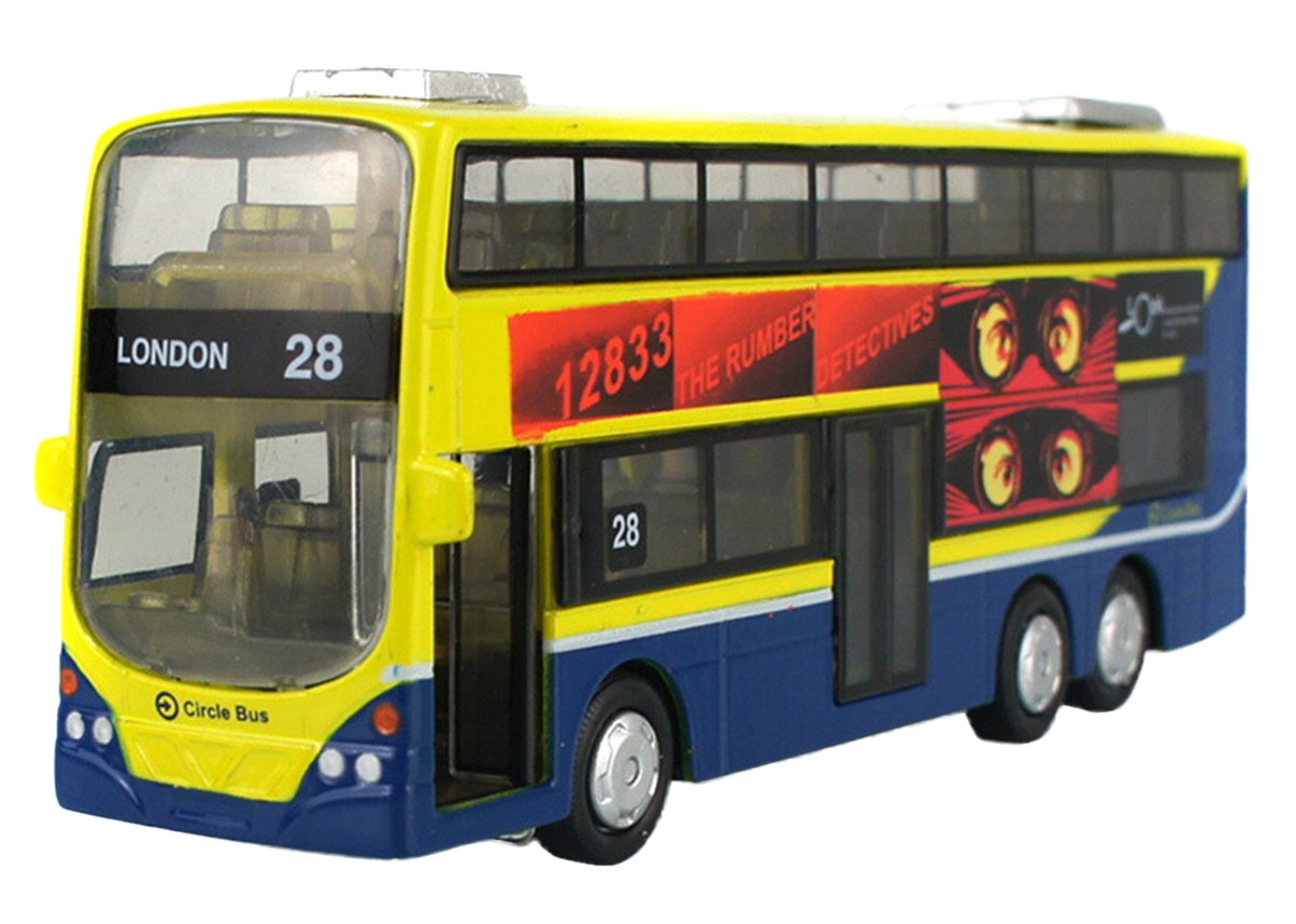 Toddlers Double Decker Bus Model Toy 1:43 Diecast For Kids Alloy w// Sound Light