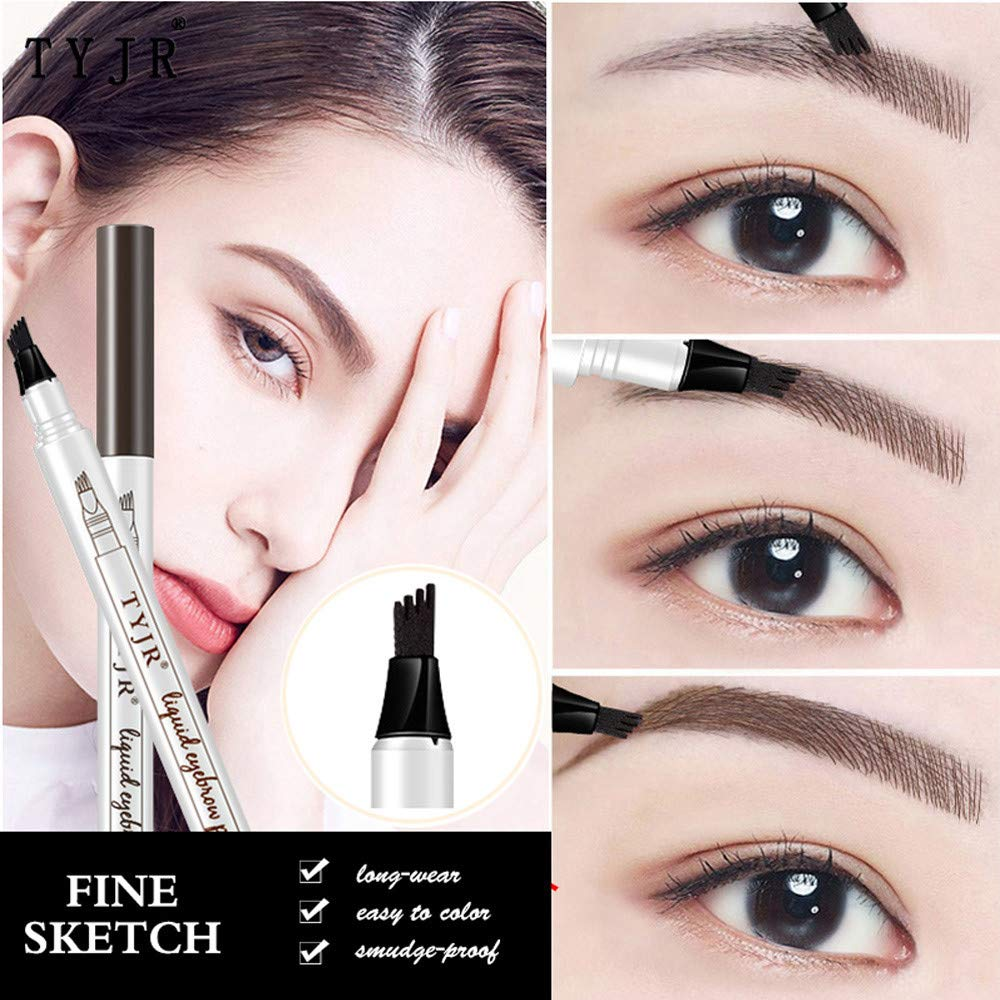 Amazon.com : Eyebrow Pen💕DEESEE(TM)💕2 Colors New Durable Makeup Tattoo Ultra-fine Waterproof Sweatproof Easy To Wear Long Lasting Fork Tip Makeup Pen ...