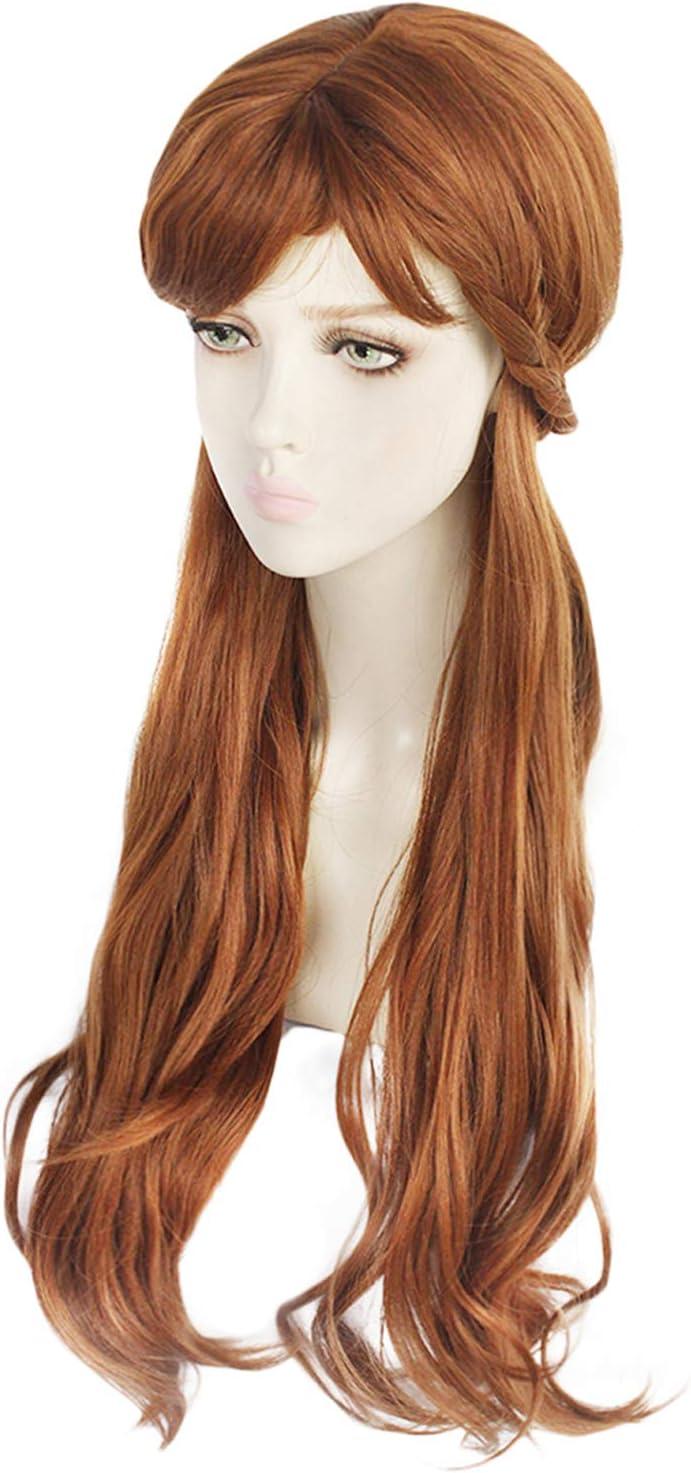 Cosplay Perruque Frozen Poup/ée Elsa Anna Blonde Tresse Brown Ondul/és Long Cheveux Neige Princesse Partie Accessoires pour Femmes Filles