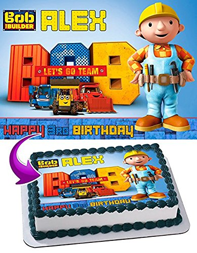 Bob the Builder Edible Cake Topper Personalized Birthday 1/2 Size Sheet Decoration Party Birthday Sugar Frosting Transfer Fondant Image - Bob The Builder Cake Decorations