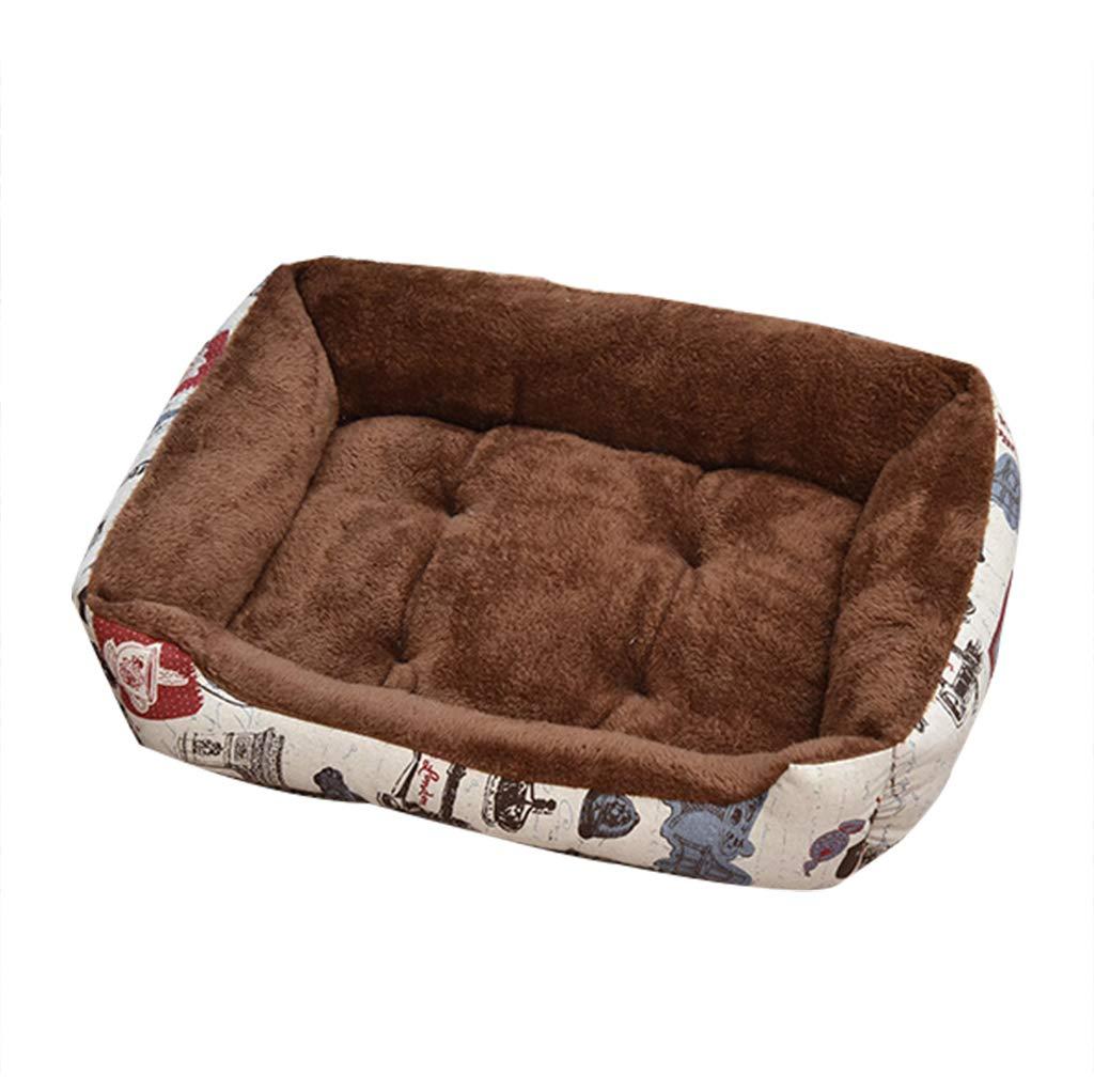 Brown 907015cm Brown 907015cm YANQ Washable Dog Bed Crate Pad Mat Dog Matress Washable Anti-Slip Pets Kennel Pads Pet Nest Dog Bed Cashmere (color   BROWN, Size   90  70  15cm)