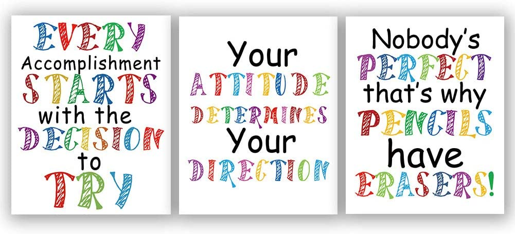 """Watercolor Words Art Print Inspirational Quote&Saying Modern Typography Art Picture Set of 3 (8""""X10"""" Canvas Painting,Motivational Phrases Wall Art Poster for Nursery or Kids Room Home Decor,No Frame"""