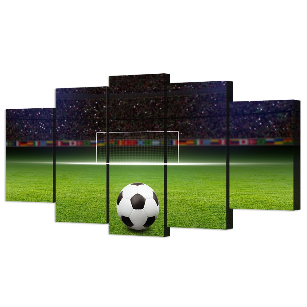 VVOVV Wall Decor - 5 Piece Canvas Art Soccer Ball on Green Huge Football Field With Soccer Gate Picture Poster Sports Wall Decor for Kids Bedroom by VVOVV Wall Decor