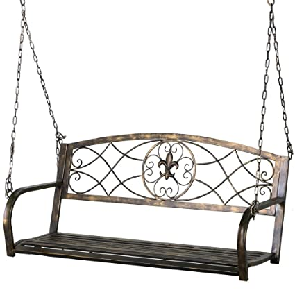 Yaheetech Iron Porch Swing Hanging Bench Chair Patio Bench Outdoor Swing  Glider Chair Outdoor Funiture Fleur