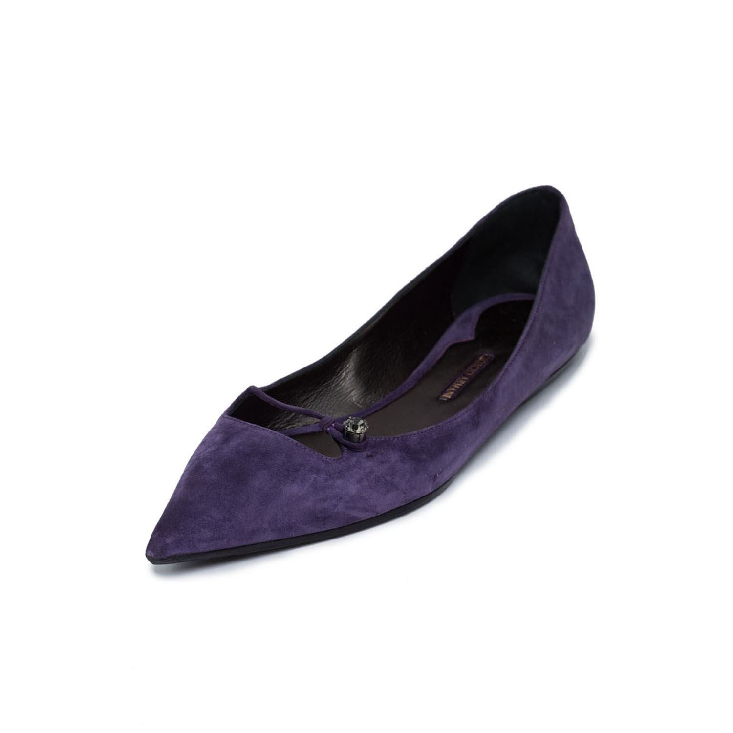 Giorgio Armani Women Purple Suede Leather Pointy Toe Ballet Flat Ballerina Shoes US 9.5 EU 39.5