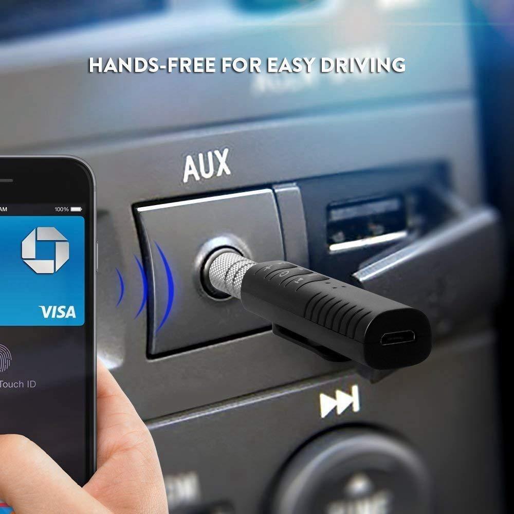 Globalflashdeal Ricevitore BT 3.5mm Adattatore AUX Trasmettitore Vivavoce Kit per Auto Portatile per Home//Car Audio Sistema Stereo Musicale Nero