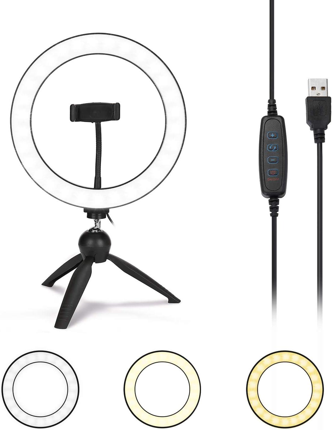 KKmoon/® Ring Light 10 pouces Dimmable LED Selfie Lumi/ère Ronde avec Clip de T/él/éphone Luminosit/é Lampe R/églable pour la Diffusion en Direct Selfie Photographie Vid/éo avec Tr/épied Right Light