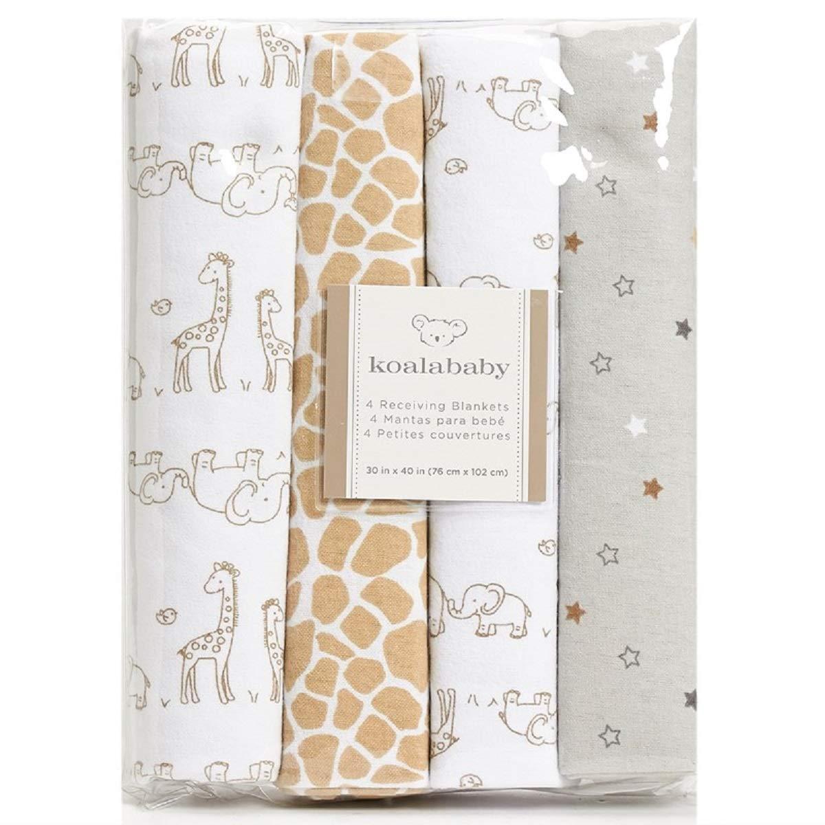 Koala Baby 4-Pack Flannel Receiving Blankets (Brown Elephant & Giraffe) by Koala Baby