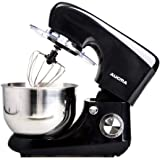 QIHANG-UK Electric Stand Mixer with Bowl 800W 6 Speeds Electric Whisk for Baking with 5.5L Bowl Beater Whisk Dough Hook Splash Guard (Black)