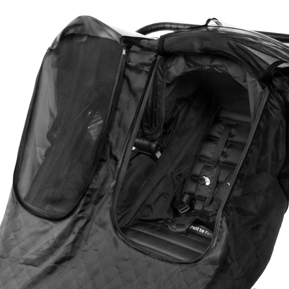 Comfy Baby Insulated Quilted Rain-cover Clear See-Thru Windows with Extra Sun Shade and Protection Net, Special Designed for the City Mini Double Stroller by Comfy Baby (Image #3)