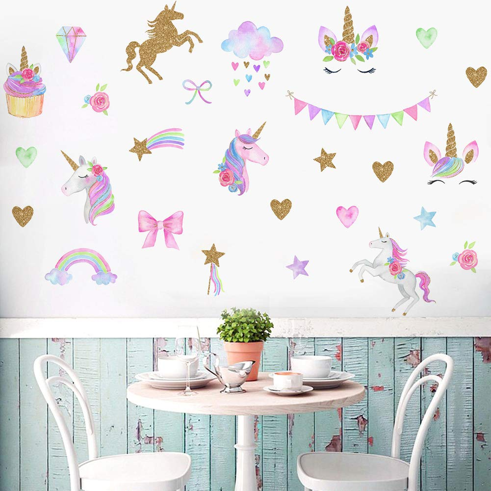 [2 PCS] Unicorn Wall Decals, Romantic Unicorn Wall Stickers Girls Bedroom, Unicorn Wall Stickers Decorations, Wall Decor with Clouds