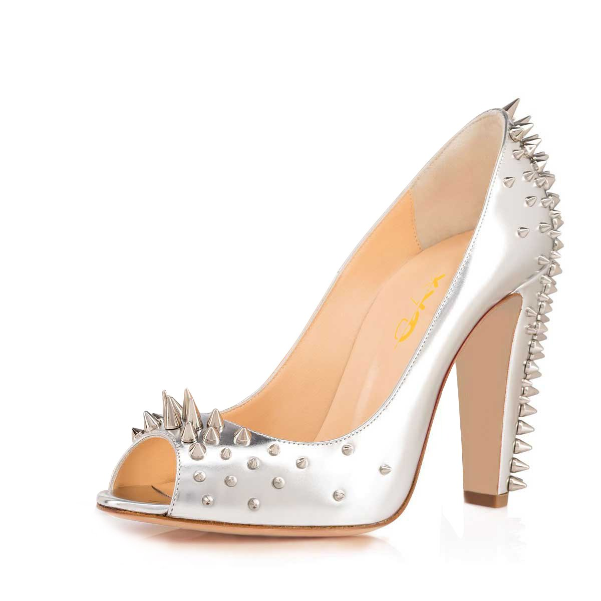 XYD Evening Superb Dress Shoes Pointed Toe T-Strap Chunky High Heel Studded Sandals for Women
