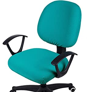 smiry Office Computer Chair Covers, Stretch Jacquard Universal Desk Rotating Chair Slipcovers Protector, Seat Cover + Backrest Cover, Peacock Green