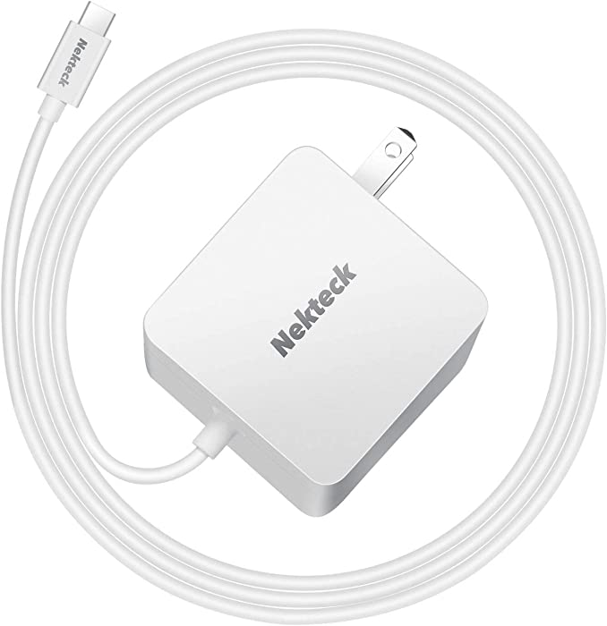 Nekteck 45W USB C Wall Charger with Power Delivery, Laptop Fast Charging Adapter Built-in 6ft Type C Cable for MacBook, Dell XPS, Surface Go, Pixel, Galaxy(NOT Ideal for Note10/S10/10+PPS)