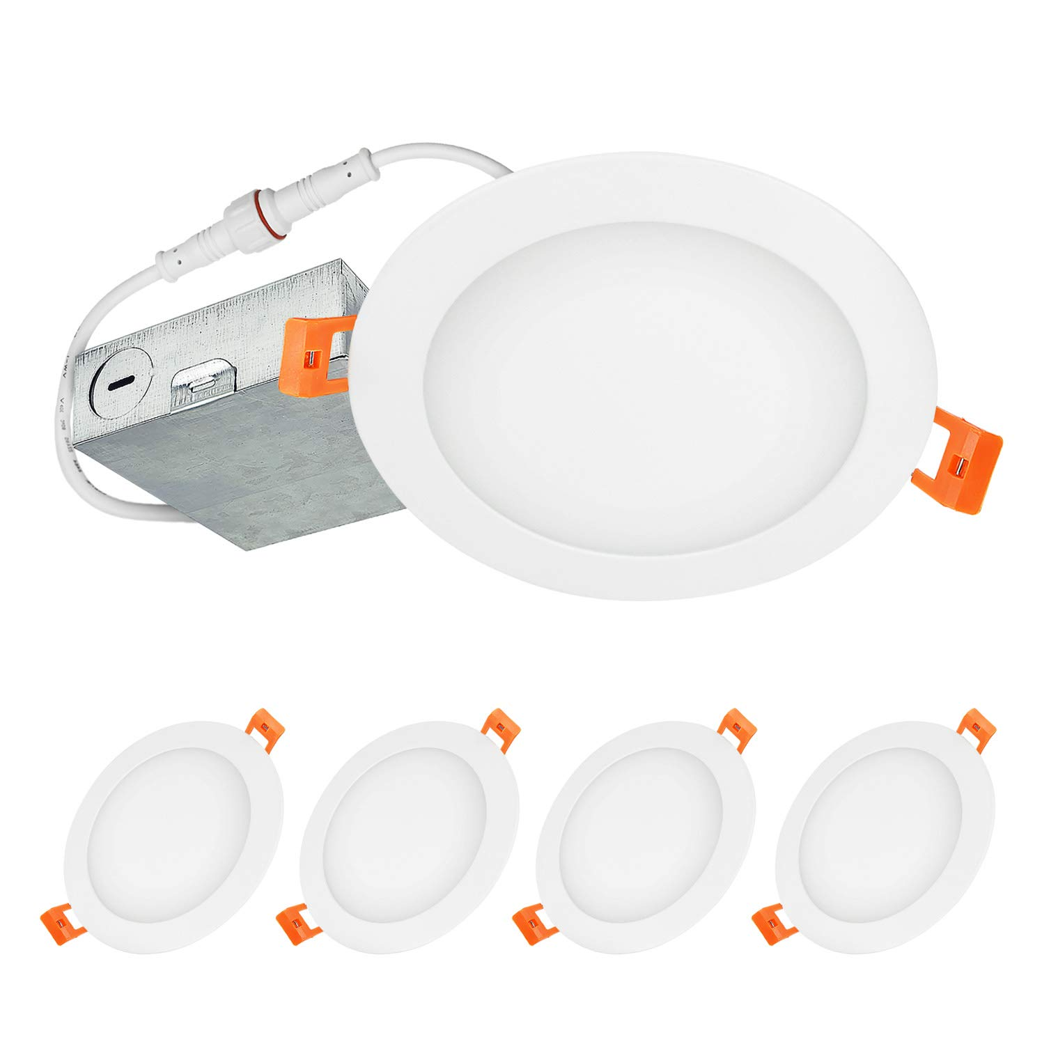 LUXTER (4 Pack) 6 inch Ultra-Thin Round LED Recessed Panel Light with Junction Box, Dimmable, IC Rated, 15W (80 Watt Repl.) 5000K Daylight 1125 Lm. No Can Needed ETL & Energy Star Listed