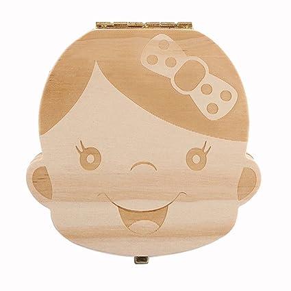 NNIUK Caja Madera de Almacenaje para Dientes de Leche Lindo Personalizado Caja Regalo para Bebes Niñas
