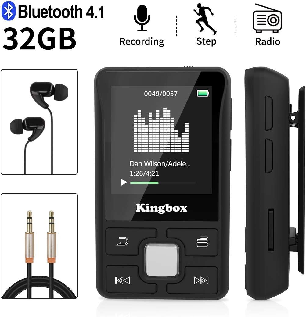 32 GB Reproductor MP3 Bluetooth 4.1 con Clip Soporta TF hasta 128GB, Sonido HiFi Reproductor de Música de Pantalla 1.5 Pulgadas para el Deporte, Podómetro, Radio FM, Grabación, Video, E-Book