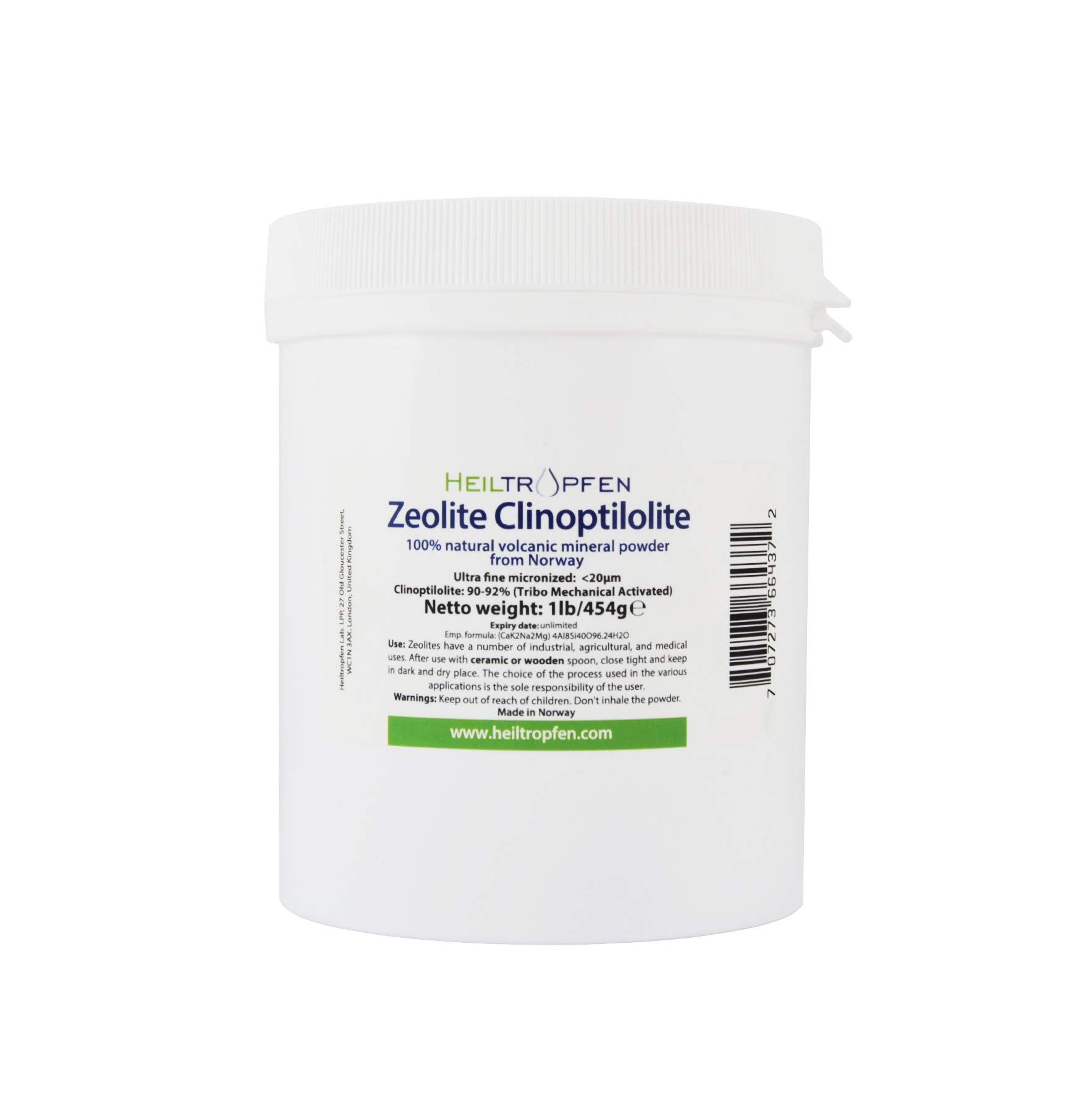 Zeolite Powder 1 Pound | ULTRA FINE less-than 20 µm | Clinoptilolite 90-92% | activated | Natural Mineral Dust | Heiltropfen