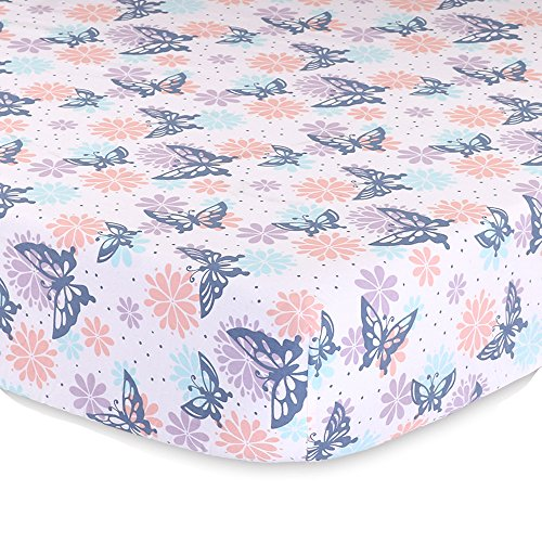 Wildflower Butterfly and Flowers Baby Fitted Crib Sheet - Purple, Coral, ()