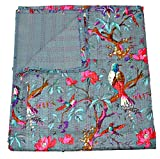 Grey Kantha Quilt, Indian Kantha Blanket, Queen Quilt, Bird Print Kantha Throw, Handmade Kantha Embroidered Bedspread,