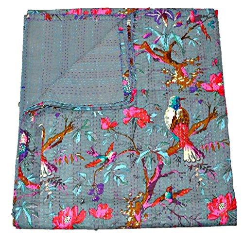 The Ethnic Crafts Grey Kantha Quilt, Indian Kantha Blanket, Queen Quilt, Bird Print Kantha Throw, Handmade Kantha Embroidered Bedspread,
