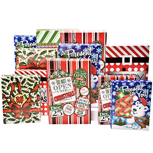 12 Christmas Wrapping Boxes Set Decorative Holiday Paper Box for Shirt Robe Lingerie Clothing, 6 Shirt Boxes 4 Lingerie Boxes 2 Robe Boxes