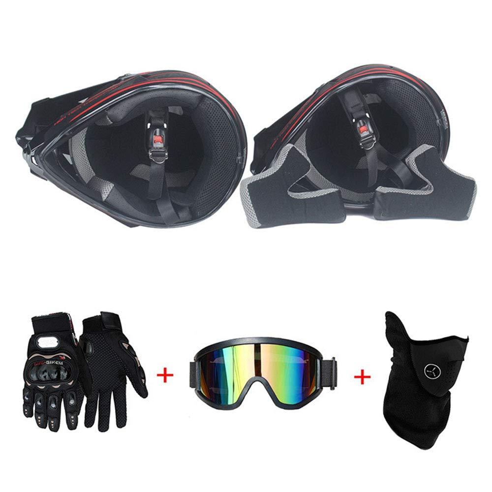 56~57cm LTongx Moto Motocross Casques /& Gants /& Goggles D T Standard Enfants Quad Bike VTT Go Karting Casque,Pink//White,L O
