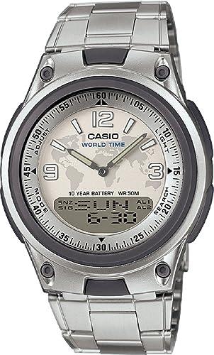 Casio AW y # x2011; 80d y # x2011; 7 a2 banco de datos analógico Digital reloj de acero inoxidable: Amazon.es: Relojes