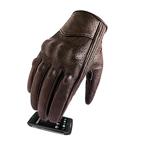 0f9e88bce32ff Men's Brown Leather Motorcycle Gloves With Touchscreen Finger and Knuckle  Protector Motor Racing Gloves (XL, Brown,Perforated)