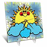 3dRose dc_202558_1 Cute Country Happy Sun & Clouds Desk Clock, 6 by 6''