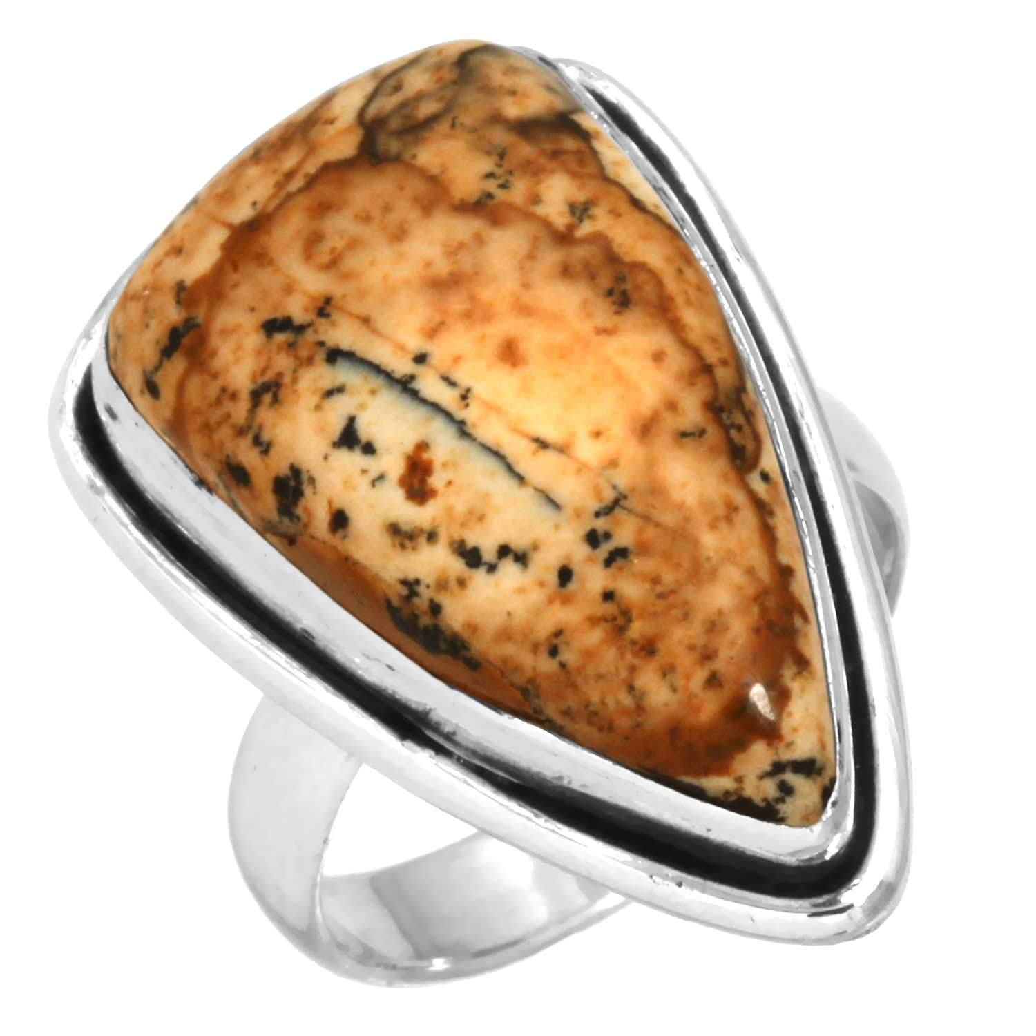 Solid 925 Sterling Silver Ring Natural Picture Jasper Handcrafted Jewelry Size 5