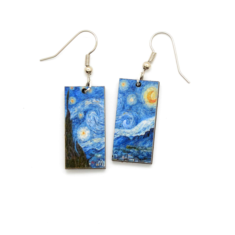 Starry night earrings Van Gogh earrings glass earrings